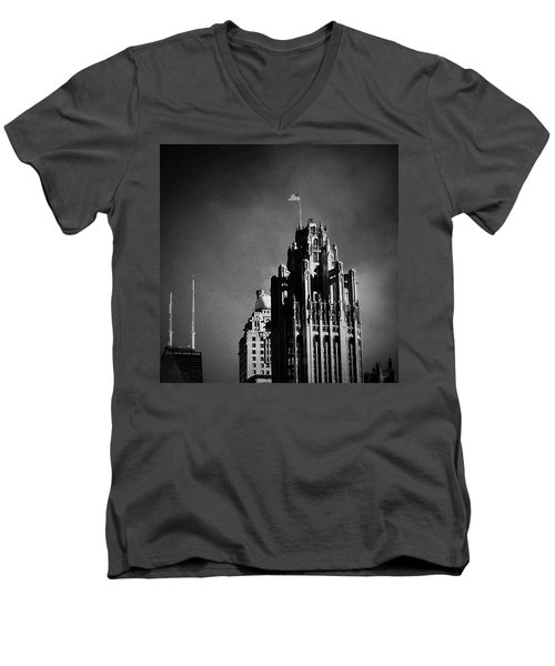 Skyscrapers Then And Now Men's V-Neck T-Shirt by Frank J Casella