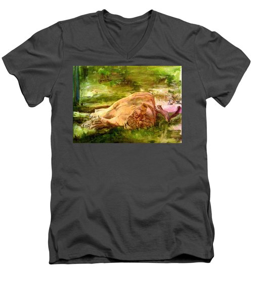 Sleeping Lionness Pushy Squirrel Men's V-Neck T-Shirt