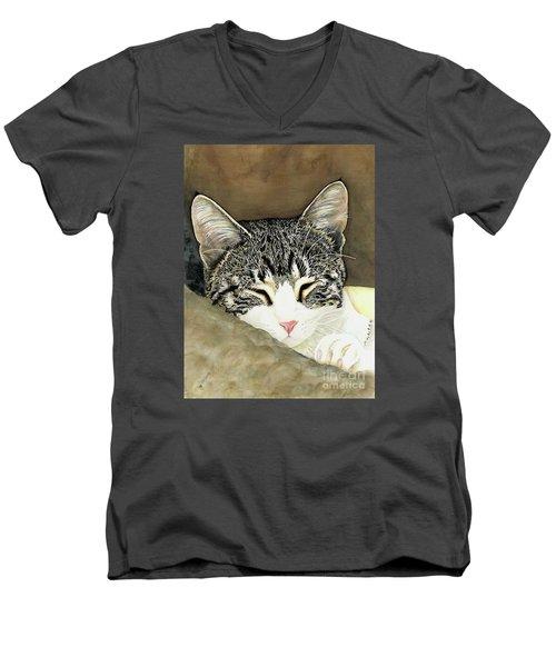 Sleeping Mia Men's V-Neck T-Shirt by Shari Nees