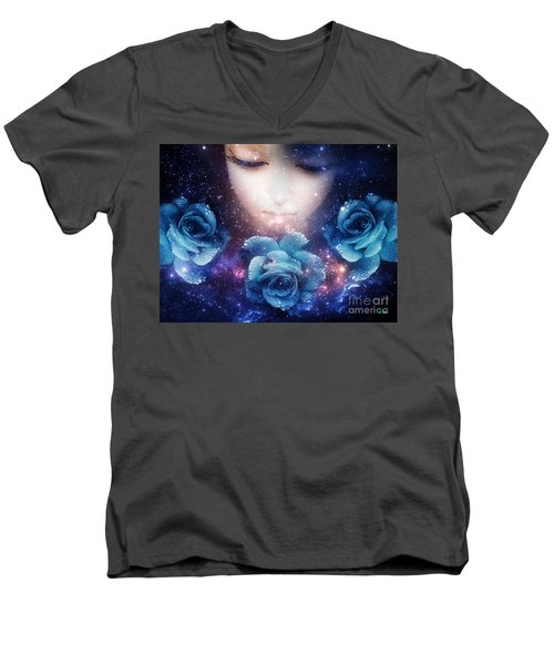 Sleeping Rose Men's V-Neck T-Shirt by Mo T