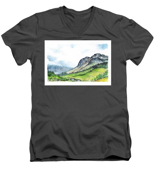 Men's V-Neck T-Shirt featuring the painting Sleeping Valley by Heidi Kriel