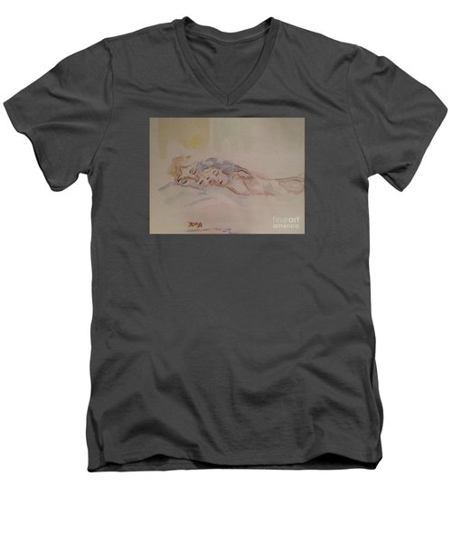 Men's V-Neck T-Shirt featuring the painting Sleepy Heads by Denise Tomasura