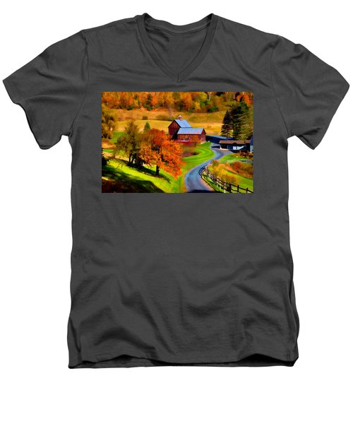 Digital Painting Of Sleepy Hollow Farm Men's V-Neck T-Shirt