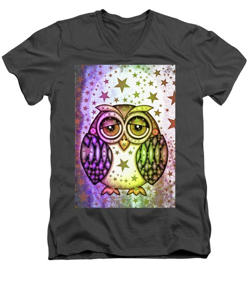 Men's V-Neck T-Shirt featuring the photograph Sleepy Owl With Stars by Matthias Hauser