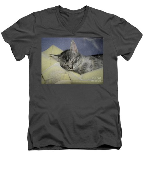 Sleepy Time Men's V-Neck T-Shirt by Donna Brown