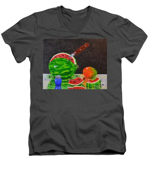 Men's V-Neck T-Shirt featuring the painting Sliced Melon by Melvin Turner