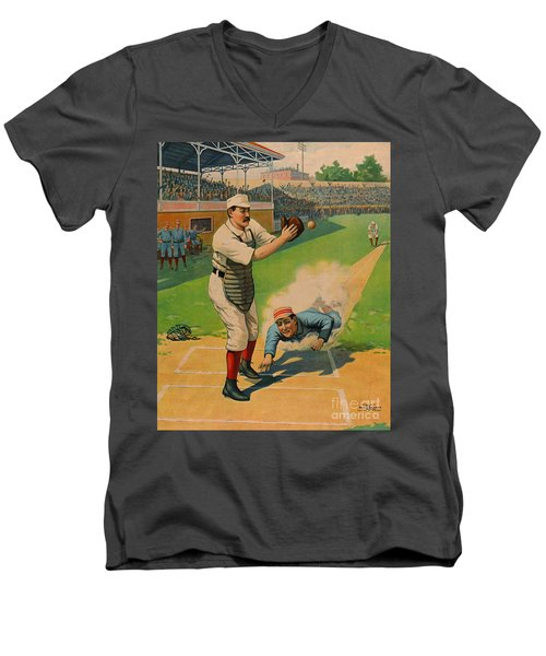 Sliding Home 1897 Men's V-Neck T-Shirt by Padre Art