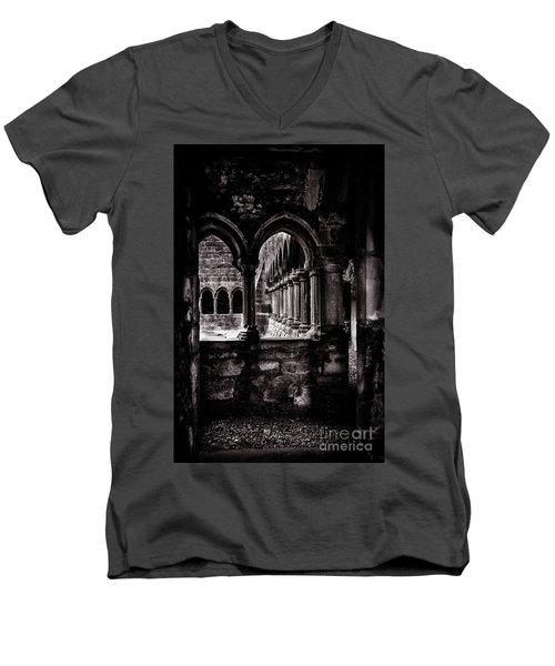 Men's V-Neck T-Shirt featuring the photograph Sligo Abbey Interior Bw by RicardMN Photography