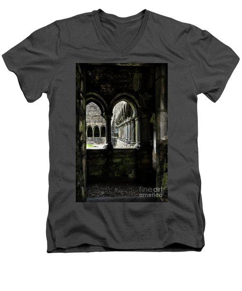 Men's V-Neck T-Shirt featuring the photograph Sligo Abbey Interior by RicardMN Photography