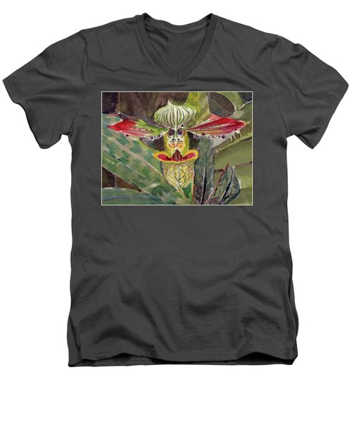 Men's V-Neck T-Shirt featuring the painting Slipper Foot Aladdin by Mindy Newman