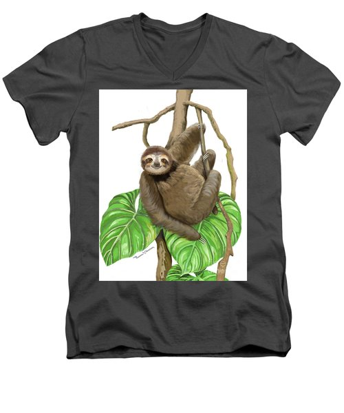 Sloth Hanging Around Men's V-Neck T-Shirt by Thomas J Herring