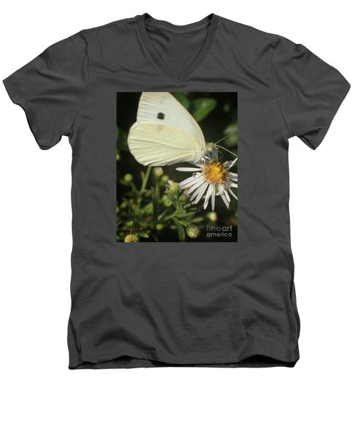 Men's V-Neck T-Shirt featuring the photograph Sm Butterfly Rest Stop by Christina Verdgeline