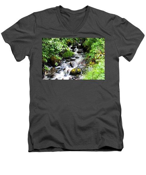Small Alaskan Waterfall Men's V-Neck T-Shirt