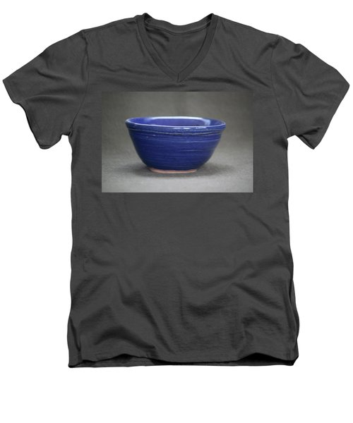 Small Blue Ceramic Bowl Men's V-Neck T-Shirt by Suzanne Gaff