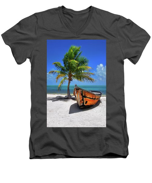 Small Boat And Palm Tree On White Sandy Beach In The Florida Keys Men's V-Neck T-Shirt