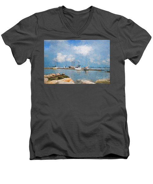 Small Dock With Boats Men's V-Neck T-Shirt