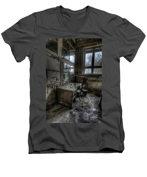 Men's V-Neck T-Shirt featuring the digital art Small Office by Nathan Wright