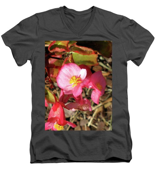 Small Pink Flowers Of Summer Men's V-Neck T-Shirt by Michele Wilson