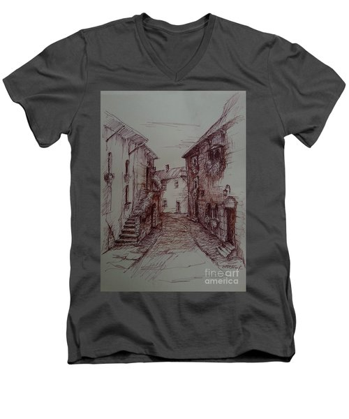 Small Town Drawing Men's V-Neck T-Shirt by Maja Sokolowska