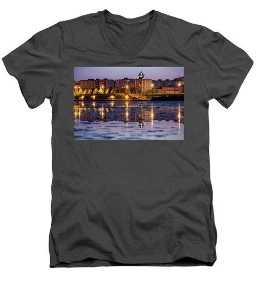 Small Town Skyline Men's V-Neck T-Shirt by Teemu Tretjakov
