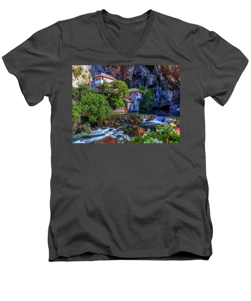 Small Village Blagaj On Buna Waterfall, Bosnia And Herzegovina Men's V-Neck T-Shirt by Elenarts - Elena Duvernay photo