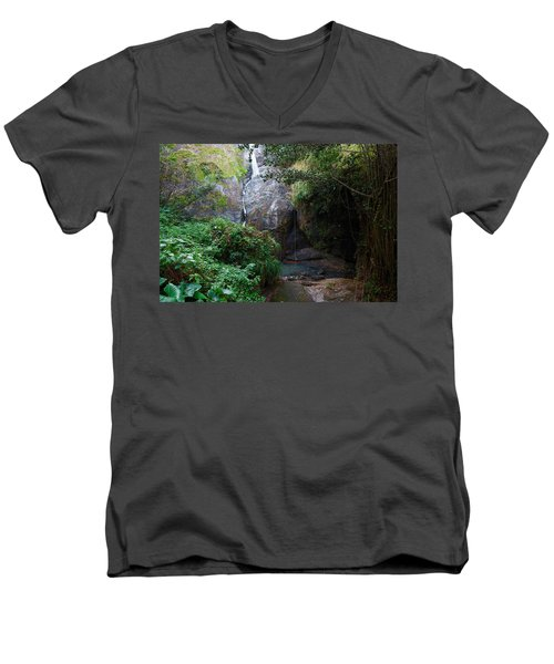 Men's V-Neck T-Shirt featuring the photograph Small Waterfall by Ricardo J Ruiz de Porras