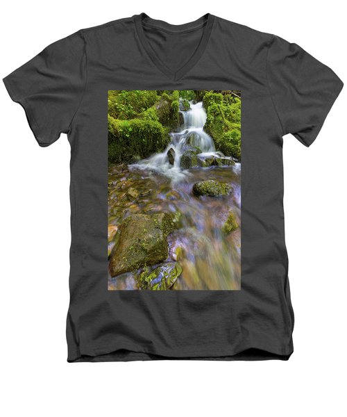 Small Waterfalls Along Wahkeena Creek Men's V-Neck T-Shirt