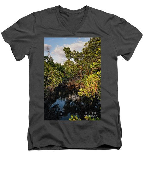Small Waterway In Vitolo Preserve, Hutchinson Isl  -29151 Men's V-Neck T-Shirt by John Bald