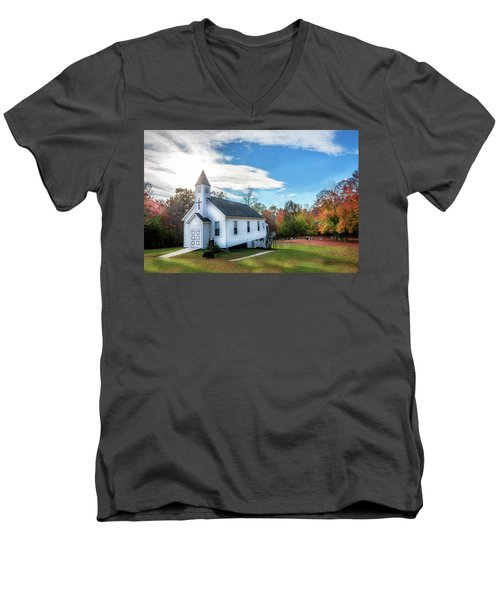 Small Wooden Church In The Countryside During Autumn Men's V-Neck T-Shirt