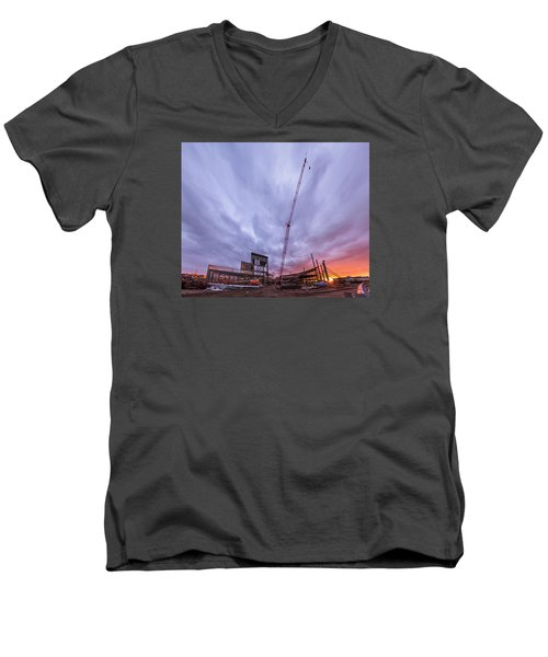 Men's V-Neck T-Shirt featuring the photograph Smart Financial Centre Construction Sunset Sugar Land Texas 10 26 2015 by Micah Goff
