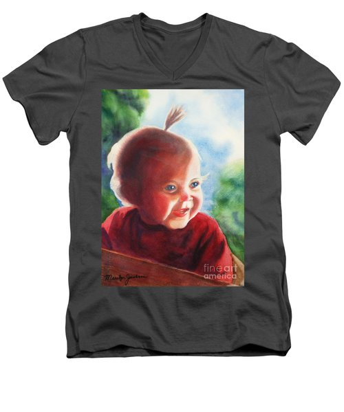 Men's V-Neck T-Shirt featuring the painting Smile by Marilyn Jacobson