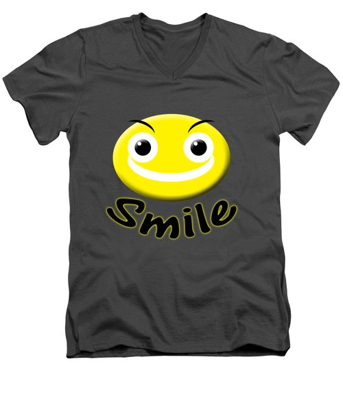 Smile T-shirt Men's V-Neck T-Shirt by Isam Awad