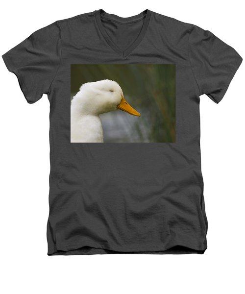 Men's V-Neck T-Shirt featuring the photograph Smiling Pekin Duck by Tara Lynn