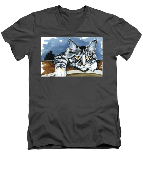 Smilla - Maine Coon Cat Painting Men's V-Neck T-Shirt