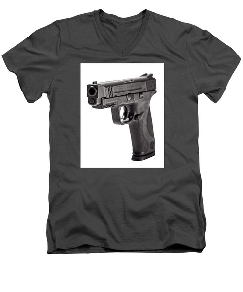 Men's V-Neck T-Shirt featuring the photograph Smith And Wesson Handgun by Andy Crawford
