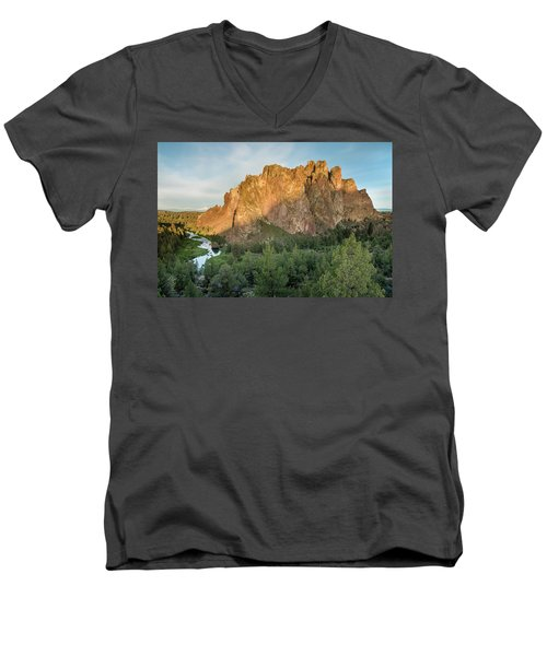 Smith Rock First Light Men's V-Neck T-Shirt by Greg Nyquist