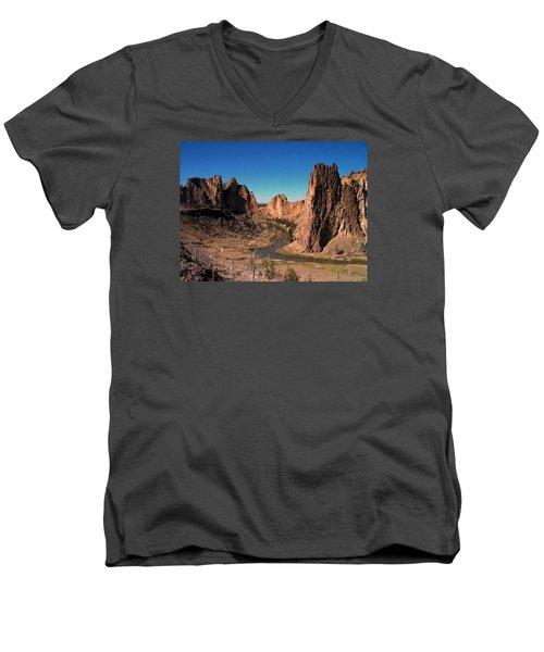 Smith Rock Men's V-Neck T-Shirt by Lori Seaman