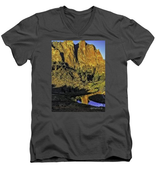 Smith Rock Reflections-1 Men's V-Neck T-Shirt by Nancy Marie Ricketts