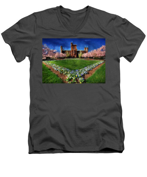Spring Blooms In The Smithsonian Castle Garden Men's V-Neck T-Shirt by Shelley Neff