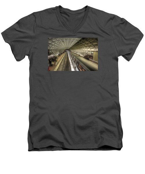 Smithsonian Metro Station Men's V-Neck T-Shirt by Shelley Neff