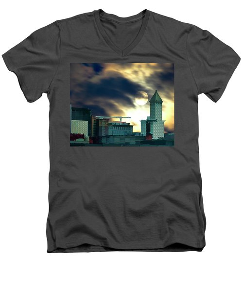 Men's V-Neck T-Shirt featuring the photograph Smithtower Moon by Dale Stillman
