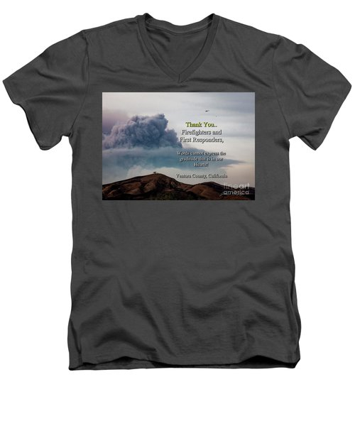 Smoke Cloud Over Two Trees Men's V-Neck T-Shirt