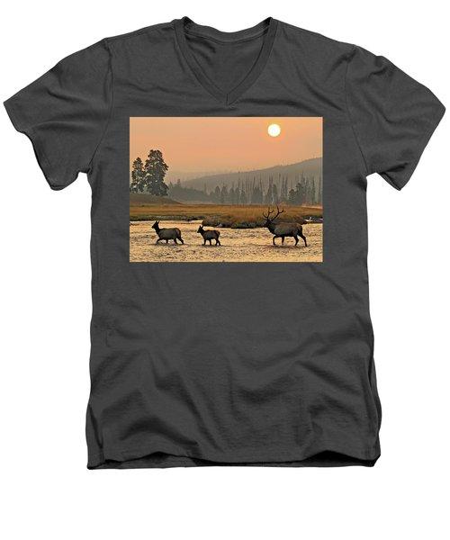 Smokey Elk Crossing Men's V-Neck T-Shirt