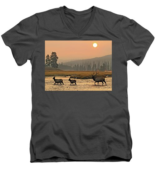 Men's V-Neck T-Shirt featuring the photograph Smokey Elk Crossing by Wesley Aston
