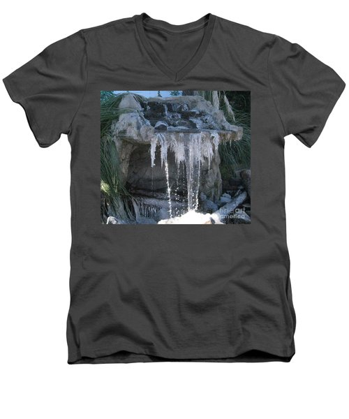 Smokey Stoves Frozen Falls Men's V-Neck T-Shirt by Marie Neder