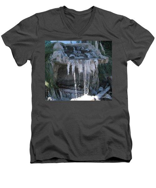 Smokey Stoves Frozen Falls Men's V-Neck T-Shirt by Marie Neder
