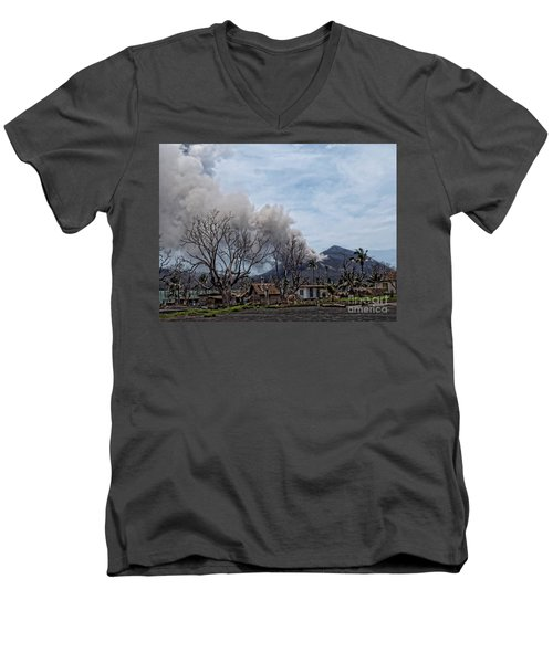Smoking Volcano Men's V-Neck T-Shirt by Trena Mara