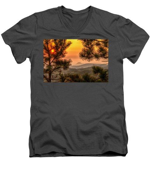 Smoky Black Hills Sunrise Men's V-Neck T-Shirt