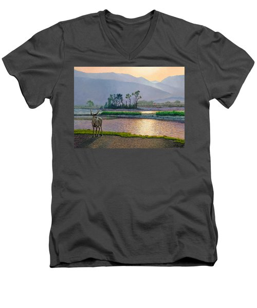 Smoky Morning Glitter Men's V-Neck T-Shirt by Paul Krapf