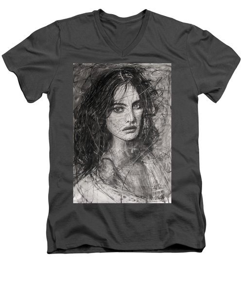 Men's V-Neck T-Shirt featuring the painting Smoky Noir... Ode To Paolo Roversi And Natalia Vodianova  by Jarko Aka Lui Grande